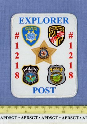 DOD MD SP BRUNSWICK EXPLORER POST 1218 MARYLAND Federal Police Patch SILK SCREEN