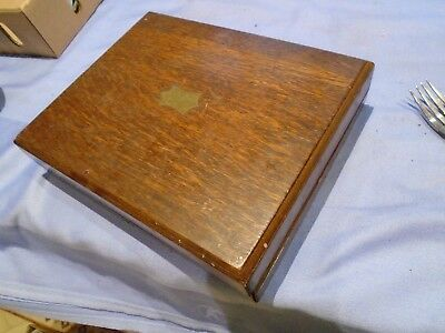 Vintage Oak  Wood Cutlery Box .  Wooden  Box Could Be - Desk Top Storage Box