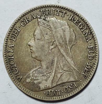 Great Britain, 6 Pence, 1895, Fine+, .0841 Ounce Silver