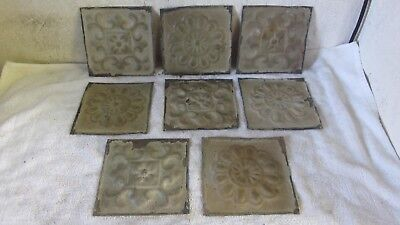 "8  Antique 6 "" x 6 "" Detailed Embossed Salvaged  Victorian Tin Ceiling Tiles"
