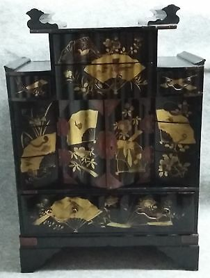 Japanese Oriental Gilded Black Lacquer Tansu Chest Draws Cabinet Jewellry Box