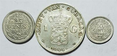 Curacao Gulden 1944D; 25 Cents 1941P XF; 10 Cents 1941P XF, .334 Ounce Silver