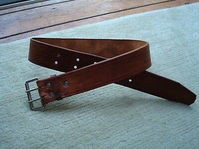 """Vintage Tan Brown Leather Belt With Double Pin Buckle 38"""" Long 1.75"""" Wide"""