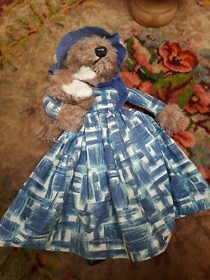 VINTAGE 1950s FOX SOFT TOY MOTHER & BABY RABBIT DRESS ORIGINAL HANDMADE ADORABLE