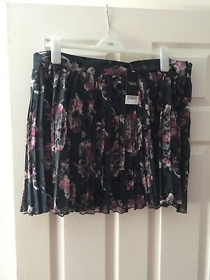 Next Ladies Pleated Short Skirt - Floral - Size 18 - BNWT