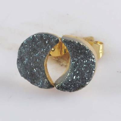 11x8mm Crescent Natural Agate Titanium Druzy Stud Earrings Gold Plated H123838