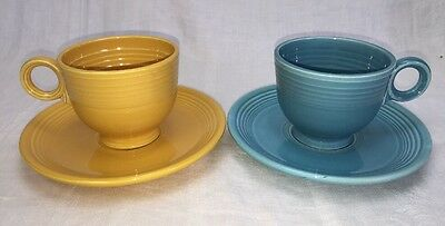 Vintage Fiesta Yellow & Turquoise Cup & Saucers Ring Handle Fiestaware HLC USA