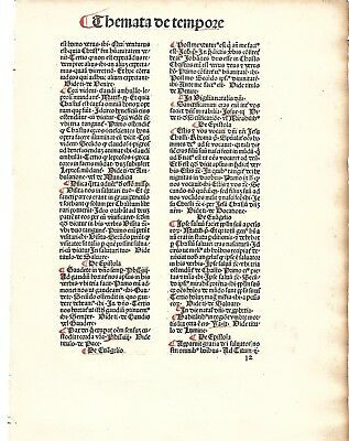 """15thc incunabula Leaf/page """"THE PAUPER'S DICTIONARY""""  Basel, Switz. 1481"""
