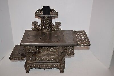 """Antique 19th Century Large """"Marvel"""" Nickel Plated Toy Cast Iron Stove"""