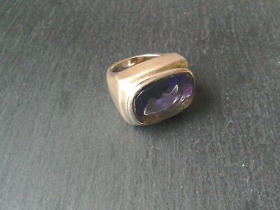 VINTAGE MONET SILVER PLATED HEAVY RING AMETHYST FACET STONE size K 1/2 vgc