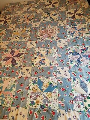 "Vintage Feedsack Quilt Top 66"" x 74"" ~Estate Find~"