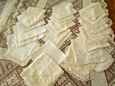 45 White Lace Vintage  Hankies Lace Embroidery Clean & Pressed