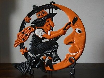 Vintage Halloween German Flying Witch Moon Repro