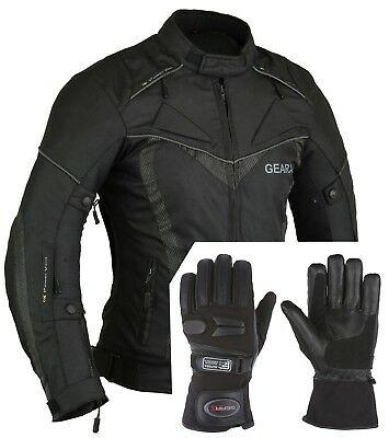 Aircon Motorbike Jacket Waterproof with Protective Motorcycle Gloves