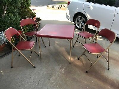 Vintage Retro Shwayder Bros. Samson Padded Card Table & 4 Padded Matching Chairs