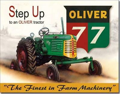 Step Up To An OLIVER 77 Tractor Finest Farm Machinery Nostalgic Tin Metal Sign