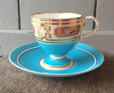 Cauldon Brown-Westhead & Moore Turquoise Gilt Rope Handled Cabinet Cup & Saucer