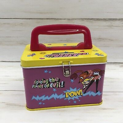 Cartoon Network 2000 Powerpuff Girls Tin Lunchbox Bank Mojo Him Fuzzy Lumpkins