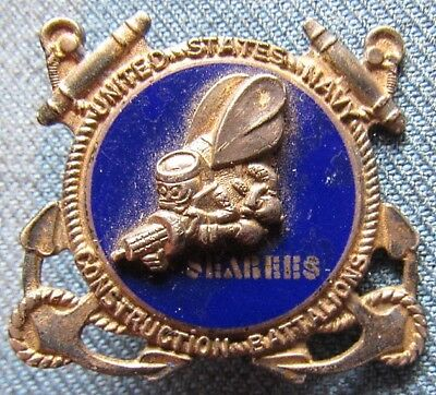 """WWII US Navy """"Seabees"""" sweetheart sterling/gold washed brooch"""