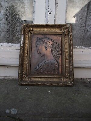 Antique Mythological / classical woman  Bronzed metal Plaque in frame