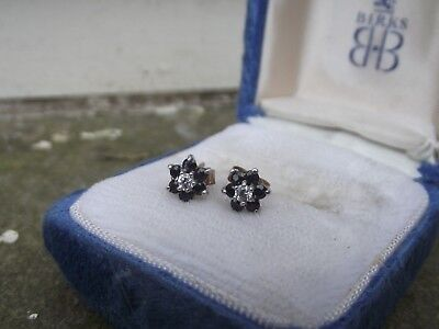 vintage pair hallmarked 9ct Gold Cluster Stud Earrings with white & blue stones