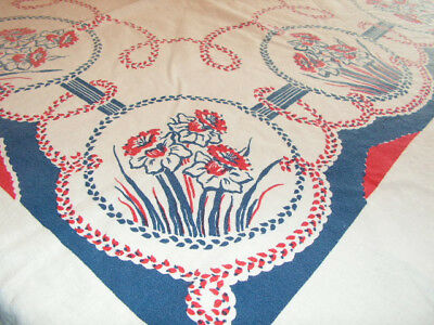 Vintage Cotton Print Tablecloth Red White & Blue Flowers Print Daffodils