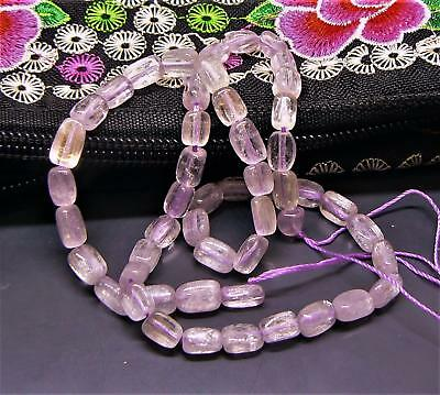 "TRANSPARENT PINK AFGHAN KUNZITE RECTANGLE NUGGET BEADS 16"" 110cts 7.5-8.5mm"