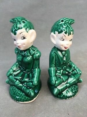 Vintage Green Pixie Elf Boy & Girl Salt and Pepper Shakers 3""