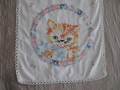 Vintage Hand Embroidered Table Runner With Kitten - Euc