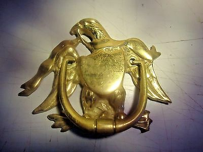 Solid brass door knocker, eagle w/ shield, vintage_______________________SE-173P