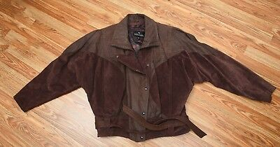 1980s Brown Suede and Leather Jacket - Iconic 80s Jacket - Unisex Size M