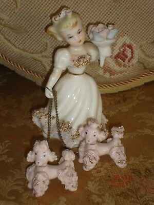 Vintage Porcelain Pink POODLES Pair with Girl Lady SPAGHETTI Figurine JAPAN 3 pc