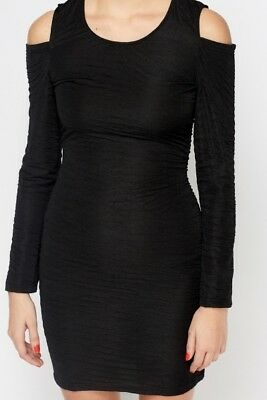 Bnwt Black Cold Cut Out Shoulder Dress Lbd Bodycon Mini Size 14 Party Sexy