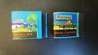 Chicago 1934 Century of Progress  Matchbook Cover. Two Different Firestone Tires
