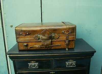 Antique heavy leather suitcase - gorgeous patina