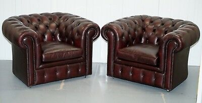 Pair Of Feather Filled Cushion Chesterfield Oxblood Leather Club Armchairs