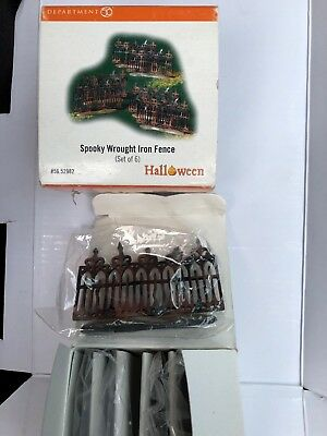 Dept 56 Halloween  SPOOKY WROUGHT IRON FENCE 6pc #56.52982