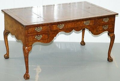 Rrp £5000+ Harrods London Burr Walnut Brown Leather Top Claw & Ball Partner Desk