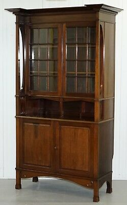 Stunning Liberty's Of London Arts And Crafts Carved Bookcase Cabinet Dresser