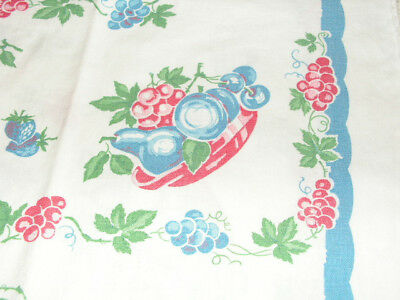 Vintage Kitchen Towels 2 Red White & Blue Fruit Print Blueberries Grapes Pears