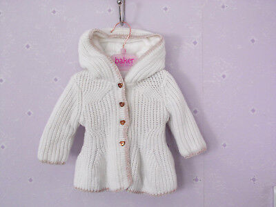 TED BAKER Baby Girls size 0-3 months Knitted Peplum Cardigan  White Hood knit