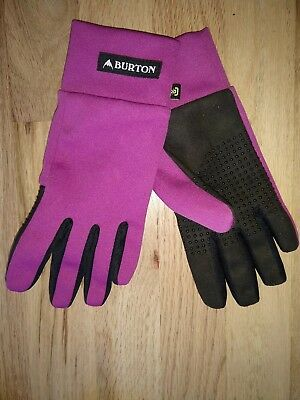 Burton Youth Girls Fuscia Black Touch N Go liner gloves sz medium M