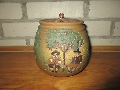 Weller Pottery American Arts & Crafts Dickensware Carved Humidor w/ Original Lid