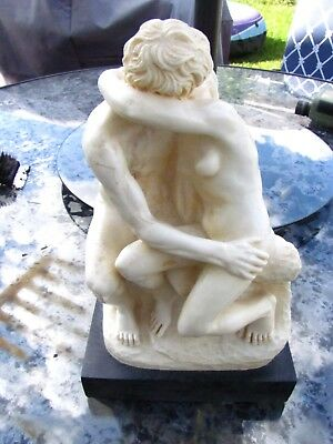 """Santini The Kiss Classic Figure Nude Signed Sculpture Italy 11"""" Tall With Base"""
