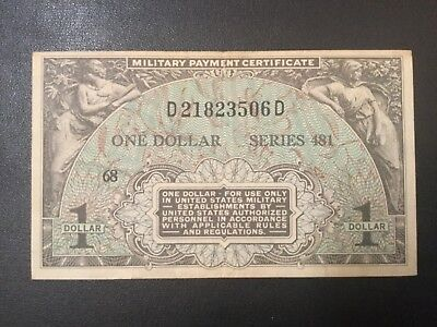 Usa Military Payment Paper Money - One Dollar Series 481 Banknote!