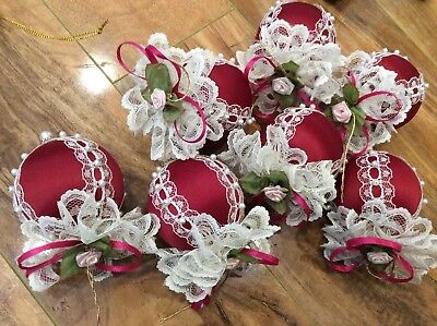 7 Vintage Christmas Victorian Burgundy Ornament Ball Floral Ribbons Lace beads