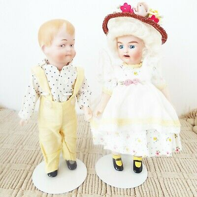 Antique Reproduction J D K & Huebach Miniature Jeannie Di Mauro Porcelain Dolls