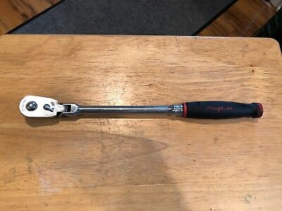 """Snap-On Fhrlf80 3/8"""" Drive Flex Head Ratchet Red Soft Grip Quick Release Usa"""