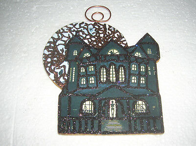HALLOWEEN HAUNTED HOUSE, MOON & TREE ~ GLITTER HALLOWEEN ORNAMENT * Vtg Img