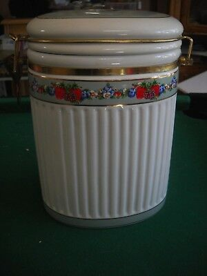 "Knott's Berry Farm Foods Ceramic 9"" Canister Brass Style Hinged Lidded Oval"